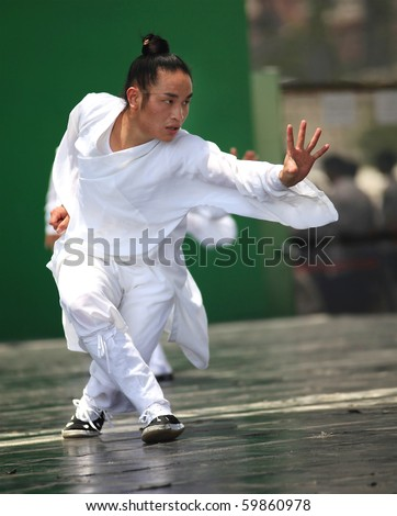 SHANGHAI - AUGUST 7:  Practitioners perform on stage during Wudang Martial Arts Show at the Expo 2010 Shanghai  China on August 7, 2010 in Shanghai, China