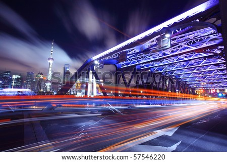 Shanghai Bridge Traffic at night - stock photo