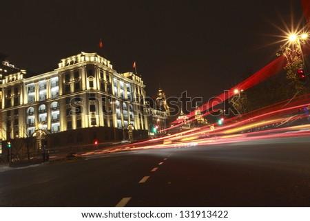 Shanghai Bund European-style buildings landscape lighting