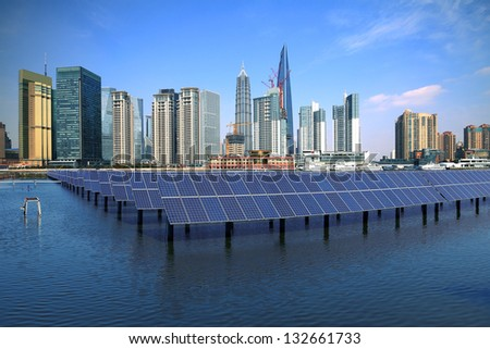 Shanghai Bund skyline landmark Ecological energy renewable solar panel plant