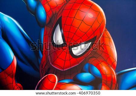 stock photo shanghai china apr spiderman illustration at the shanghai madame tussauds wax museum 406970350 - Каталог — Фотообои «Для детской»