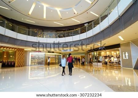 SHANGHAI, CHINA - August 8st. 2015. Luxury shopping mall interior. Multi luxury brand inside.
