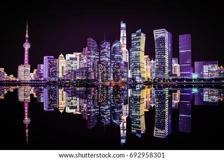 Shanghai, China city skyline on the Huangpu River. #692958301