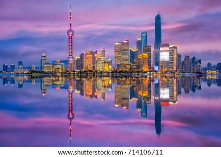 Shanghai, China city skyline on the Huangpu River. #714106711