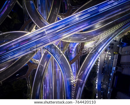 ShangHai China Freeway Long Exposure Traffic