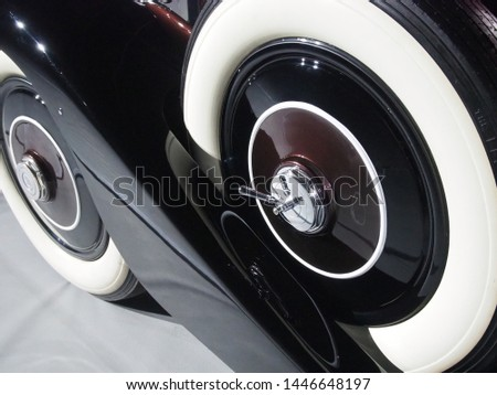 Shanghai/ China - 26 May 2019: Close up of the white wall tires on a brown Rolls Royce 20/ 25 built in 1934 in Crewe, England on display at the Shanghai Super Classic Car show #1446648197