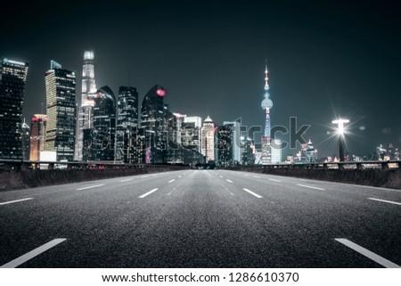 Shanghai, China :Nightscape of Lujiazui skyline as seen from across the Huangpu River #1286610370