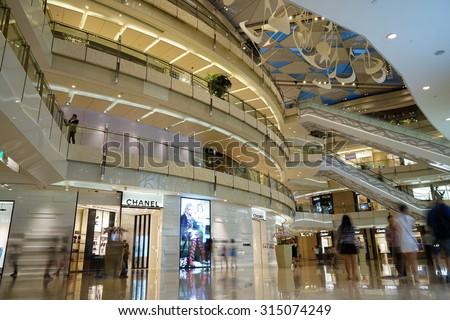 SHANGHAI, CHINA - Sept. 3. 2015. Luxury shopping mall interior. Multi luxury brand inside.The day just China public holiday.
