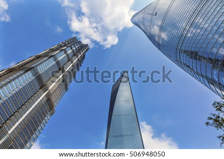 SHANGHAI, CHINA - SEPTEMBER 23, 2016 Three Skyscrapers Reflections Make Patterns Designs Liujiashui Financial District Shanghai China. Shanghai Tower, Shanghai World Financial Center and Jin Mao Tower #506948050