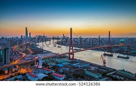 Shanghai city architectural landscape #524126386