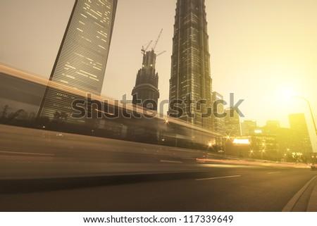 Shanghai city landmark background night view of traffic