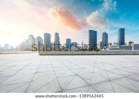 Shanghai city skyline and buildings with empty floor #1389562445