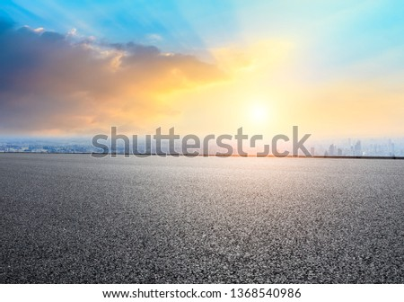 Shanghai city skyline and empty asphalt road ground scenery at sunrise #1368540986