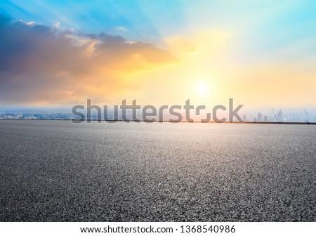 Shanghai city skyline and empty asphalt road ground scenery at sunrise #1368540986