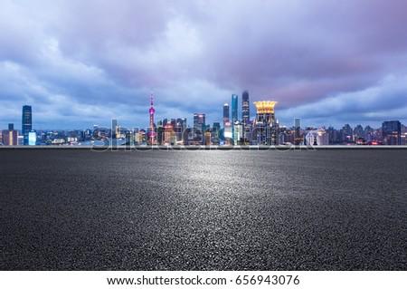 Shanghai cityscape and urban road #656943076