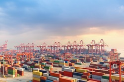 shanghai container terminal at dusk, one of the largest cargo port in the world