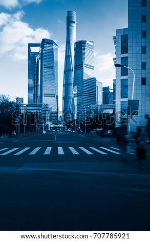shanghai huangpu district,blue toned. #707785921