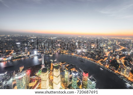 Shanghai huangpu river and pudong financial district skyline at sunset,China #720687691