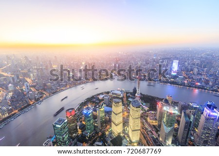 Shanghai huangpu river and pudong financial district skyline at sunset,China #720687769