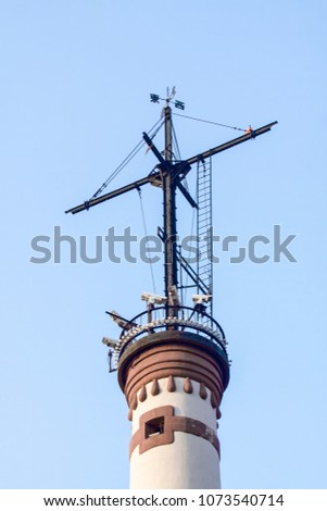 Shanghai Huangpu River Bund Beacon Lighthouse Architectural Landscape #1073540714