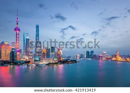 shanghai in nightfall, beautiful metropolitan cityscape , China