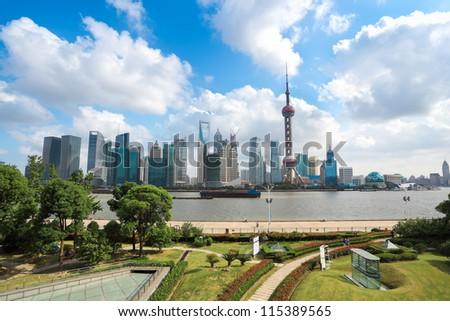 shanghai landscape in the north bund greenbelt