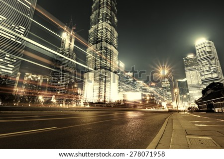 Shanghai Lujiazui Finance and Trade Zone of the modern city night background #278071958