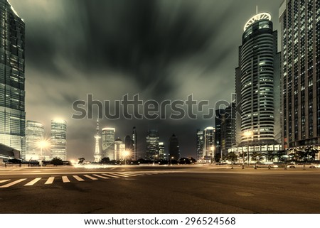 Shanghai Lujiazui Finance and Trade Zone of the modern city night background - Shutterstock ID 296524568