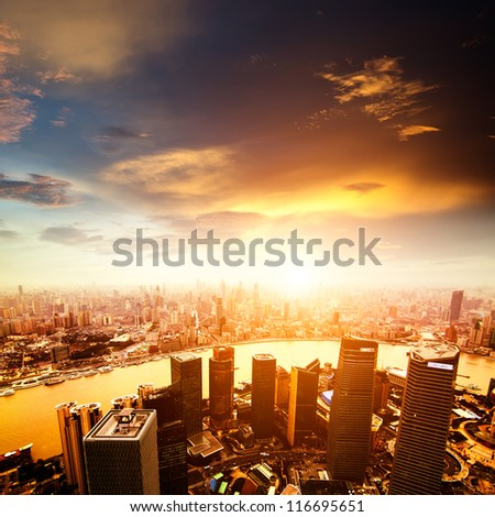 shanghai lujiazui finance and trade zone skyline #116695651