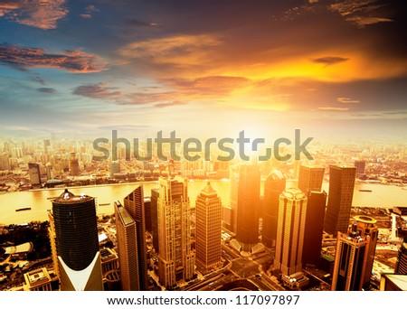 shanghai lujiazui finance and trade zone skyline