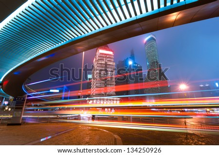 Shanghai Lujiazui Finance & Trade Zone modern city night