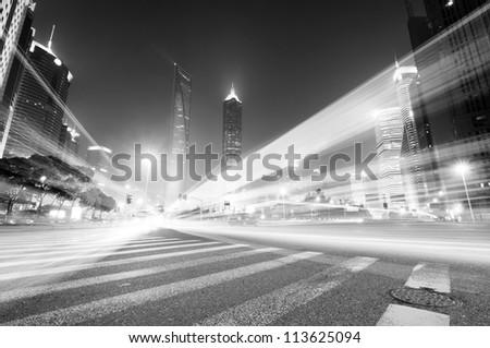 Shanghai Lujiazui Finance & Trade Zone modern city night background