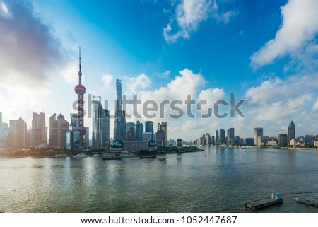 shanghai lujiazui financial center aside the huangpu river. #1052447687