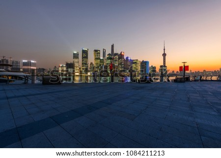 shanghai lujiazui financial center aside the huangpu river.  #1084211213