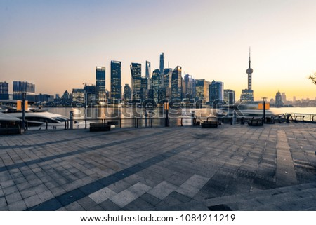 shanghai lujiazui financial center aside the huangpu river. #1084211219