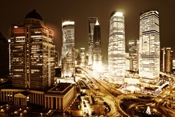 shanghai lujiazui financial center in the evening