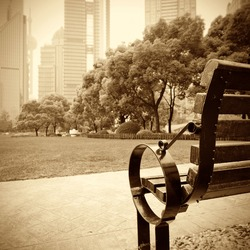Shanghai Lujiazui financial district, park benches