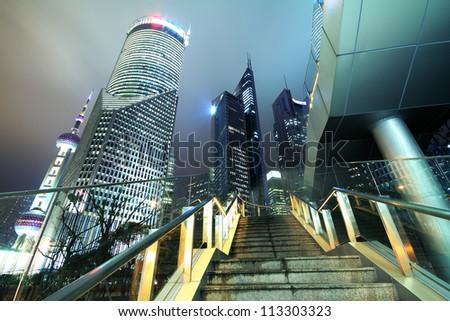 Shanghai Lujiazui urban buildings parks landscape - stock photo