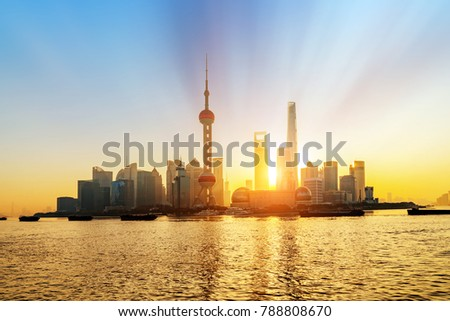 Shanghai morning panorama before sunrise with city skyline and colorful sky over Huangpu River #788808670