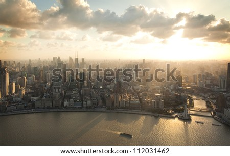 Shanghai Pudong bird's eye view of the city