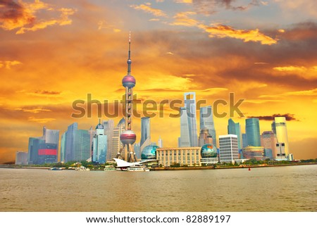 Shanghai Pudong during a sunset, China