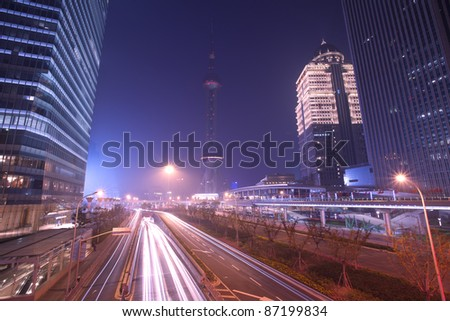 Shanghai Pudong night highway