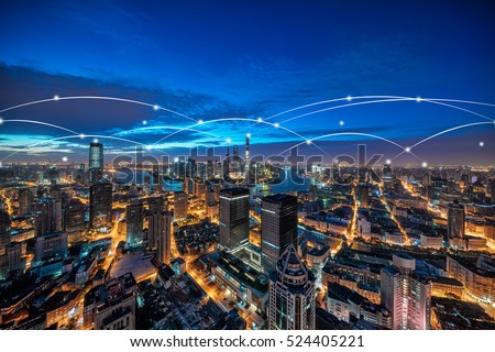 Shanghai rapid development in the city, busy data network space #524405221
