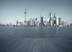 Shanghai's landmark skyline prospects of wood floor corridor at urban buildings landscape