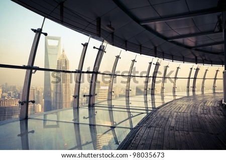 shanghai scenery, view from the oriental pearl tv tower - stock photo