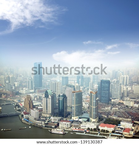 Shanghai skyline 2013 - stock photo
