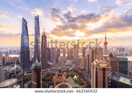 Shanghai skyline and cityscape at sunset  Stockfoto ©