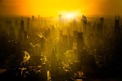 shanghai skyline in sunrise, landscape of city.