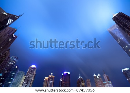 shanghai skyline of the lujiazui financial center at night