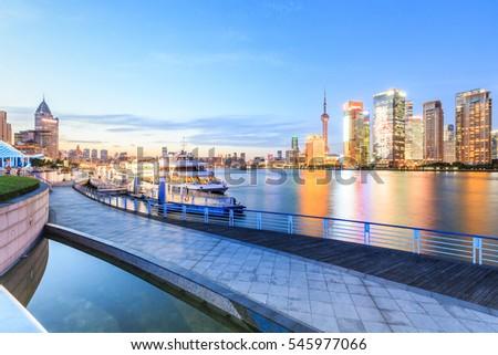 Shanghai skyline on the Huangpu River at night,China #545977066